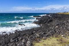 Atlantic Ocean coast on Sao Miguel island, Azores, Portugal Stock Photos