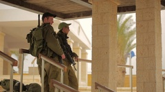 JORDAN, ISRAEL -  An Israeli defense forces soldier dressed in Stock Footage