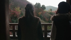Amazing view overlooking Kyoto vally and temples red trees  Stock Footage