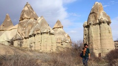 Cappadocia Young Tourist Woman Travel Stock Footage
