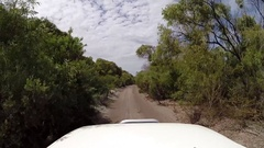 POV 4x4 Vehicle driving beautiful sandy track Stock Footage