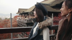 Tourist overlooking Kyoto city from Kiyomizudera Stock Footage