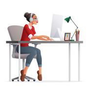 Vector freelance woman working home office with desktop computer. Stock Illustration