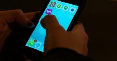 Woman Using Ride Sharing App Lyft in New York City 4K Stock Footage