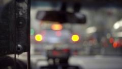 Backseat view of interior taxi cab blurred windshield driving in Manhattan NYC Stock Footage