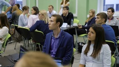 Young professionals in the audience of the institution in the training business Stock Footage