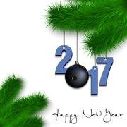 Bowling ball and 2017 on a Christmas tree branch Stock Illustration