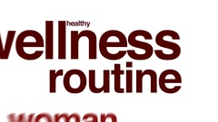 Wellness routine animated word cloud. Stock Footage