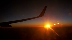 Sunset Sky form the Airplane Window Stock Footage