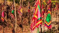 Line of Red Religious Buddha Banners Flap in Wind Stock Footage
