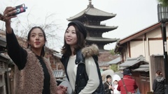 Young International friends take selfie in front of famous temple landmark in Stock Footage