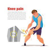 Knee pain of ahtletic, Cartoon character, Vector illustration. Piirros