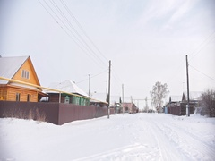 Russian typical countryside - winter village in center of Volga, snow cold day Stock Footage