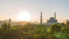 Sunset Day to night at Federal Mosque, Kuala Lumpur Stock Footage