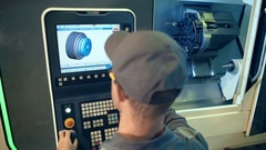 Industrial engineer worker operating control panel system at manufacture plant Stock Footage