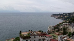 Bay of Naples in the autumn overcast day, buy and port view Stock Footage