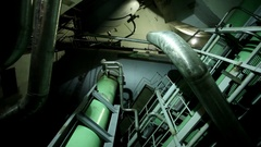 Atomic power station. Interior of a machine room at a nuclear power plant. HD Stock Footage