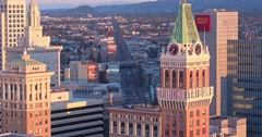 Aerial shot of Oakland City, California at sunrise Stock Footage