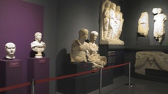 The historical museum of antiquities and sculptures Stock Footage