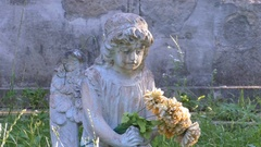 The sculpture in the cemetery angel with wings Stock Footage