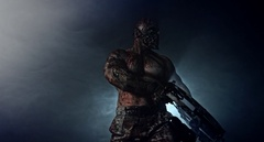 Zombie killer with a crossbow.  Apocalypse. Stock Footage