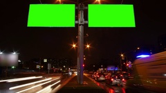 Chroma key green screen Billboard in the night city Stock Footage