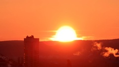 Sunrise closeup. Real Time. Ekaterinburg, Russia Stock Footage