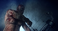 Horror zombie killer with a crossbow. Stock Footage