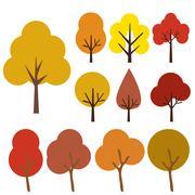 Autumn trees icons isolated on white Stock Illustration