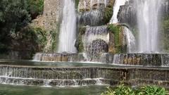 Garden and fountains in Villa d'Este Tivoli, Italy Stock Footage