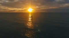 Beautiful sunset over sea, aerial view. Boracay island Philippines Stock Footage