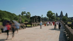Angkor Wat Temple Cambodia visitors time lapse Stock Footage