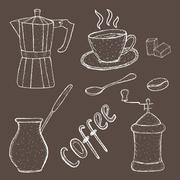 Collection of coffee sketch tool, hand drawing, vintage style. vector Stock Illustration