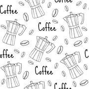 Coffee geyser seamless texture. Coffee background. Vector illustration Stock Illustration