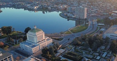 Aerial shot of Oakland City, courthouse, lake merritt at sunrise Stock Footage