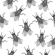 Fly insect seamless texture. Fly wallpaper, background. Vector illustration Stock Illustration
