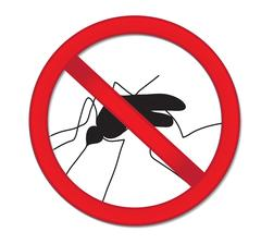 Red sign ban mosquito. Stop mosquito insect. Vector illustration Stock Illustration