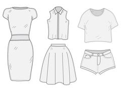 Women's Clothing set sketch. Clothes, hand-drawing, doodle style.  Women's Stock Illustration