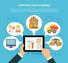Flat Construction Planning Diagram Concept Stock Illustration