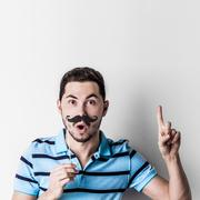 Man with fake mustache Stock Photos
