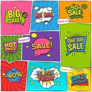 Sale Comic Page Design Stock Illustration