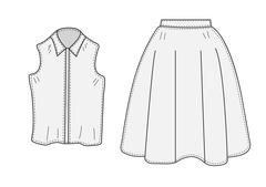 Skirt and blouse set sketch retro style. Clothes, hand-drawing, doodle style Stock Illustration