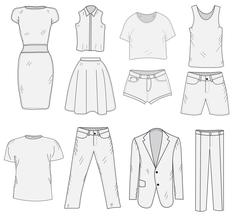 Men's and Women's Clothing set sketch. Clothes, hand-drawing, doodle style Stock Illustration