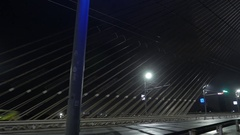 Night city and bridge in fog. Riga, Latvia. December 2016. 4K UHD Stock Footage