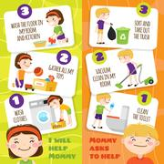 Kids Cleaning Banners Stock Illustration