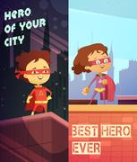 Vertical Banners With Kids In Superhero Costumes Stock Illustration