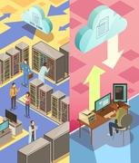 Information Center Isometric Banners Stock Illustration