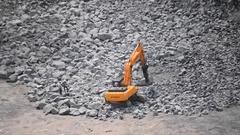 Mining work in the granite quarry, granite drilling Stock Footage