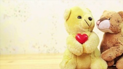 Two soft toys with a red heart Stock Footage