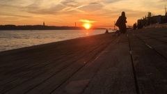Friends at Famous River During Sunset, Lisbon Stock Footage